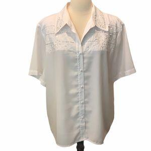 Joanna White Embroidered Short Sleeve Blouse